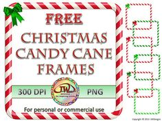 FREE Clip Art Christmas Candy Cane Frames