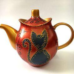 Teapot Cat Kitten Hand Painted Novelty Tea Pot