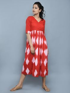 Peach Red Cotton Clamped Dyed Angrakha Dress