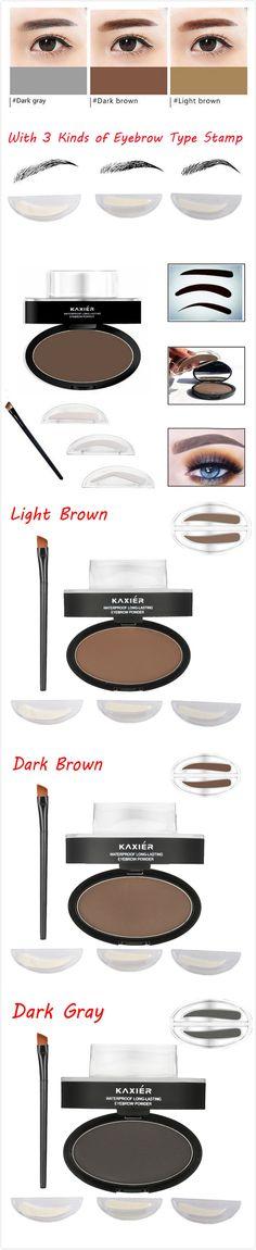 [$ 9.99]   KAXIER Eyebrow Stamp Powder Set Makeup Brush Waterproof Long Lasting Cosmetic