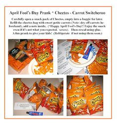 April Fool's Day Prank... Cheetos Carrot Switcheroo... heh heh.  Fun joke for kids!