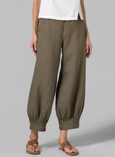 INSPIRATION! Linen Pleated Cuff Crop Pants