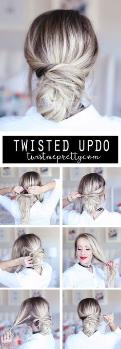 Try this super easy twisted updo for a quick but stylish hairstyle this holiday season! Twist Me Pretty