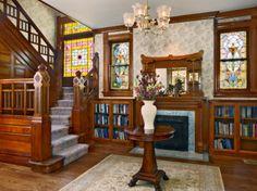 fireplace/bookshelves