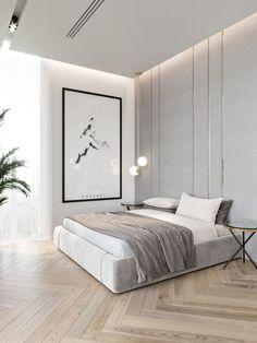 59 best minimalist bedroom design you must see 42 Interior Design Modern Bedroom Design, Contemporary Bedroom, Modern Interior, Home Interior Design, Modern Minimalist Bedroom, Modern Wall, Minimalist Room Design, Monochrome Bedroom, Modern Apartment Design