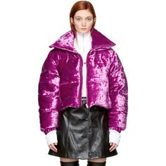 MISBHV Pink Velour Down Jacket (3 365 PLN) ❤ liked on Polyvore featuring outerwear, jackets, pink, quilted down jacket, drawstring jacket, stand collar jacket, pink down jacket and pink quilted jacket