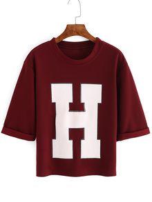 Red Short Sleeve H Print Crop T-Shirt