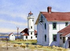 Point Wilson Light by Mike Kowalski Watercolor ~ 7 x 10