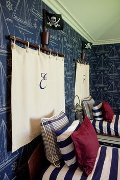 Love the wallpaper! So cute for boys room! ---------monogrammed headboard idea... Lots of ways to modify this!