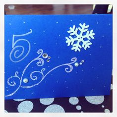 Frozen 5th bday party invites, embossing powder helped make it more frosty!