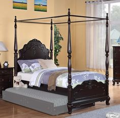 Homelegance Cinderella Poster Bed - Dark Cherry - 1386TPPNC-1