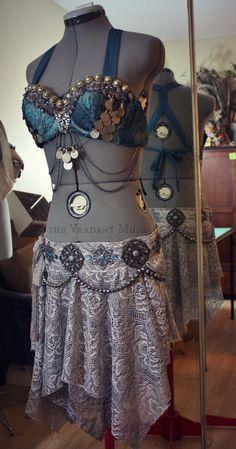 Blue silk & sari trim bra, silver embellished skirt by the Verdant Muse