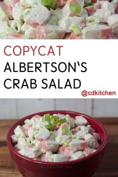 This crab salad made with imitation crab, green onions, and mayo is a close facsimile to the one you find at Albertson's grocery store. Crab Meat Salad, Crab Pasta Salad, Seafood Salad, Shrimp Salads, Seafood Pasta, Seafood Dishes, Sea Food Salad Recipes, Crab Meat Recipes, Spinach Recipes
