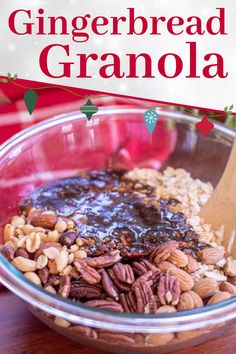 Make this quick, easy and healthy homemade Gingerbread Granola in under 20 minutes for an amazing holiday breakfast. WW 9 Purple, 11 Blue, 11 Green, Vegetarian, Gluten Free Gingerbread Granola Recipe, Freezer Meals, Meal Prep, Gluten Free, Vegetarian, Lunch, Homemade, Dinner, Healthy