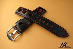 Custom made leather rally watch strap.   Padded 22/20  Wykonany na zamówienie, skórzany pasek do zegarka.  www.mkleathers.pl