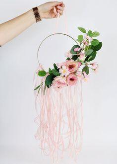 DIY Floral Hoop Wreath I virágos tavaszi koszorú - így készült