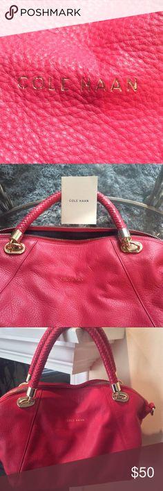 Handbag*shoulder Cole Haan hot pink navy inside mint condition gold hardware Cole Haan Bags Shoulder Bags