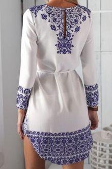 Retro Print Long Sleeves Dress Ceinture Bleu, Manches Longues, Robe,  Caractères Sur La 12bcff8f2f4