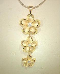 13mm Hawaiian Solid 14k Yellow Gold Brushed Satin Fancy Plumeria Flower Pendant