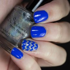 Sally Hansen Pacific Blue Chevron Nail Art