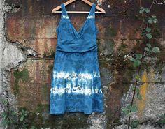 Organic indigo cotton dress s: S/M hand dyed por BlumenKinderSeattle