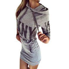 Europen Style Slim Long Sleeved Hooded Dress Letter Printed Sweatshirt Plus Size S-XL 3 Colors Dresswear