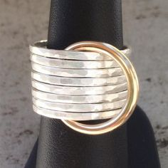Comunità Gold and Silver Stacking Ring Set by K D'Angelo Designs