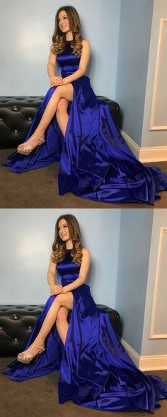 Gorgeous Royal Blue Long Prom Dress with Side Slit #royalbluepromdresses #promdresseswithslit #prom #dresses #longpromdress #promdress #eveningdress #promdresses #partydresses #2018promdresses
