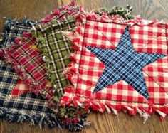 Rag Quilt Placemats Set of Six by TheLaughingBlackbird on Etsy