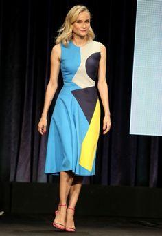 Diane Kruger kiest voor geometrisch design tijdens promotour