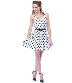 White & Black Polka Dot Day Dress- Unique Vintage