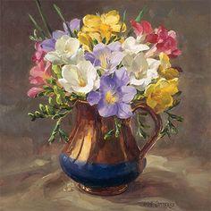 Publishers of Anne Cotterill Flower Art Arte Floral, Watercolor Flowers, Watercolor Art, Bull Painting, Flower Artists, Art Calendar, Pastel Art, Botanical Illustration, Flower Vases