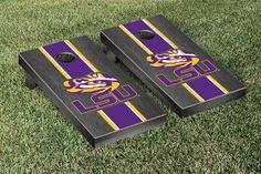 Louisiana State LSU Tigers Cornhole Game Set Onyx Stained Stripe Version