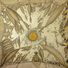 Zi de vara. Creion, culori acrilice si schlagmetal gravat/panza.60x60 cm