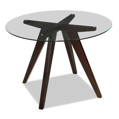 Have dinner in style with this wood and tempered-glass round dining table.