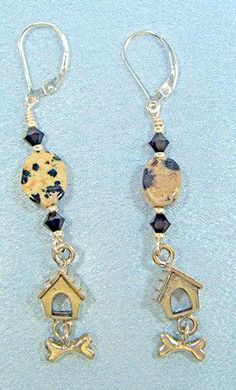 Dalmatia or Tanzanite Czech Crystals with Dog house and Dog bone sterling earrings