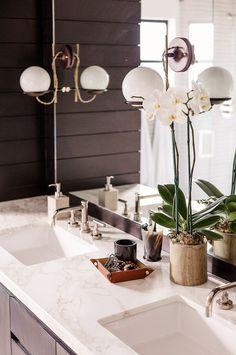 LOVE this bathroom. Home Tour: Inside An Interior Designer's Midcentury Renovation via @domainehome