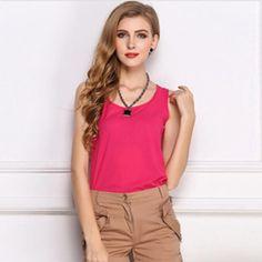 New 2016 Casual Chiffon Blouse Tank Sleeveless Womens Summer Fashion Vest Tops S-XXXL