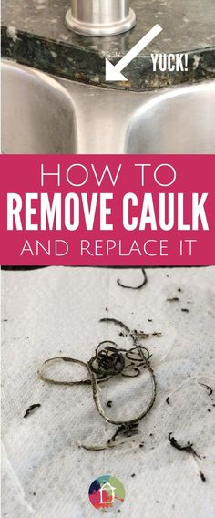 DIY Home Decor Inspiration : Illustration Description Ever wondered how to remove caulk and replace it? It's EASY! Learn how to replace any nasty caulk in your kitchen or bathroom with this step-by-step caulking tutorial. -Read More – House Cleaning Tips, Spring Cleaning, Cleaning Hacks, Home Renovation, Home Remodeling, Bathroom Remodeling, Do It Yourself Furniture, Do It Yourself Home, Home Improvement Projects