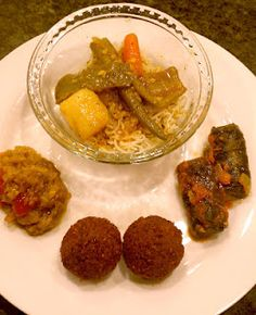 noon o kabab : vegetarian mix curry & dill rice, dolma grapeleaves, falafel & roasted eggplant.