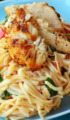 Lemon Bruschetta Pasta with Grilled Chicken