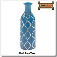 Merit Blue Vase - This vase specialized in suave style and gorgeous color that will complement any decor. The stoneware body features a beautiful white pattern set against a sky blue glaze, and it looks just as pretty alone as it does with a bouquet of your favorite flowers.