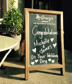 The famous Chalkboard! Weddings - McGrory's - Cudaff - Donegal - Ireland