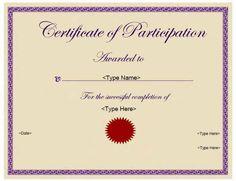 Education Certificates - Certificate of Participation | CertificateStreet.com