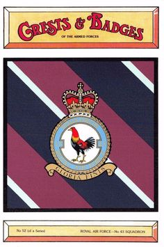#retweet #postcards Postcard RAF Royal Air Force No.43 Squadron Crest Badge No.52 NEW #RT 50% OFF when you Buy 3+