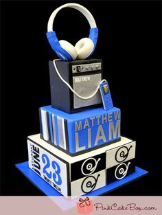 customed cakes with microphones | ... cake, first communion cakes, pink cakes, music cakes, boom box cake