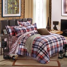 Grey Coral and White Classic Tartan Plaid Print Shabby Chic Western Style 100% Brushed Cotton Full, Queen Size Bedding Sets