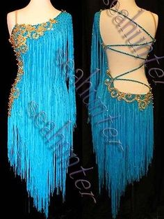 Ballroom Cha Cha Ramba Latin Dance Dress US 8 UK 10 Blue Fringing Gold Color | eBay