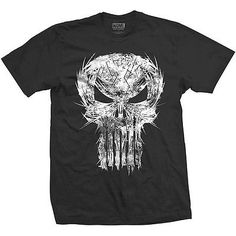 #Marvel #comics mens black #t-shirt punisher skull spiked,  View more on the LINK: http://www.zeppy.io/product/gb/2/252731130120/