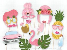 Printable Flamingo Party Photo Booth Props - Flamingo Photobooth Props - Flamingo Printable Props - Flamingle Party - Tropical Pool Party by PrintablePropShop Wedding Photo List, Wedding Photo Booth, Photo Booth Props, Wedding Photos, Photo Booths, Props Photobooth, Party Fiesta, Luau Party, Foto Banner